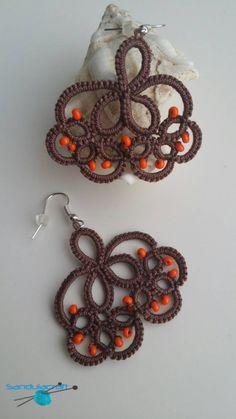 Check out this item in my Etsy shop https://www.etsy.com/listing/208855124/tatted-brown-earrings-orange-beads