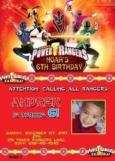 Power Rangers Birthday Invitation - partyexpressinvitations