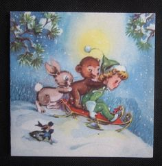 Vintage Christmas Greeting Card Sled Riding Elf Child Bear and Rabbit Gibson