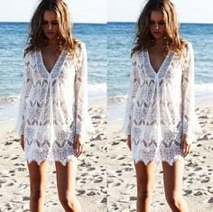 2015 Summer Women Sexy V Neck Long Sleeve Swimwear Beach Dress Lace Crochet Hollow Out Bikini Cover Up Beach Bathing Suit from Tfdmarket,$7.33 | DHgate.com