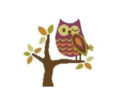 owl cross stich pattern | Winking Owl Cross Stitch Chart Pattern PDF by ExpressionEssentials