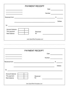 great for cash and other payment transactions this printable receipt can be printed two to