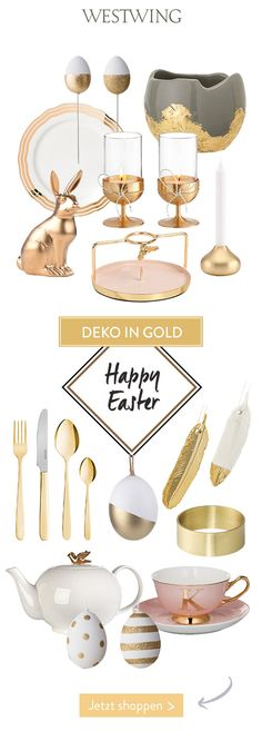 Happy EASTER - schicke Deko-Ei-lights fürs Osterfest! Du hast Lust auf Eleganz am Ostertisch? Diese wunderschönen Accessoires in GOLD sorgen für ein stilvolles & festliches Ambiente! // Ostern Osterdeko Osterfest OsterIdeen Gold Deko Dekoration Tischdeko Ostereier Osterhase Tasse Geschirr Besteck Tischdekoration Eindecken #Ostern   Eastern #Osterndeko #Osterfest #OsterIdeen #Gold #Deko #Dekoration #Tischdeko #Tischdekoration #Eindecken