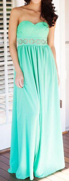 Mint Floral Cutout Waist Maxi Dress good for bridesmaid dresses!?