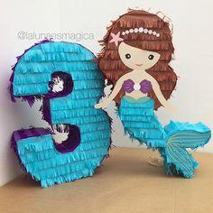 Nuestra piñata de sirenita y piñata de número #piñata #piñatas #pinata #pinatas #fringepinata #fringepinatas #sinohaypiñatanohayfiesta #piñatadenumero #sirenita #sirena #mermaid #Guayaquil #Ecuador #lalunaesmagica