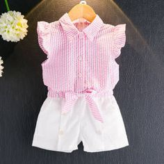 Girls Clothing Sets Summer Fashion Kids Clothes Girls Sleeveless Striped bow-knot T-shirt+White Short Suits Toddler Outfits, Boy Outfits, Toddler Girls, Baby Girls, Baby Girl Fashion, Kids Fashion, Style Fashion, Summer Girls, Kind Mode