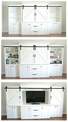 Rustic and Neutral White Sliding Barn Door Entertainment Center – Family and the Lake House – www.familyandthel… Rustic and Neutral White Sliding Barn Door Entertainment Center – Family and the Lake House – www. Home Theaters, Muebles Living, Diy Entertainment Center, First Home, Basement Remodeling, Home And Living, Small Living, Home Projects, Living Room Decor