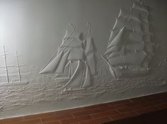 Clipper ships wall art in plaster of paris