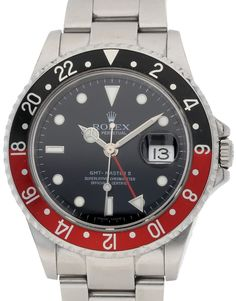 Rolex GMT Master II 16710   Bracelet Material: Steel Oyster Bezel: Black/Red Case Material: Steel Case size	: 40 MM Dialtype: Black Baton Gender: Mens Movement: Automatic