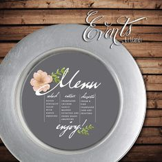 8 Round Circle Gray Menu for a plate charger by Eventsbyicandy