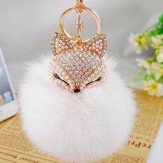 New Fashion Cute Real Fox Fur Ball Plush Keychain Car Key Chain