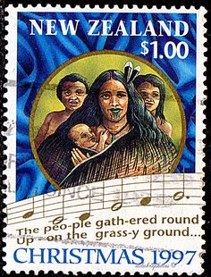 New Zealand.  SCENES FROM THE FIRST CHRISTIAN SERVICE, RANGIHOUA BAY & WORDS FROM CHRISTMAS CAROL.  MOTHER, CHILDREN FROM RANGIHOUA.  Scott 1455 A427, Issued 1997 Sept 3, Litho., Perf. 14, 1. /ldb.