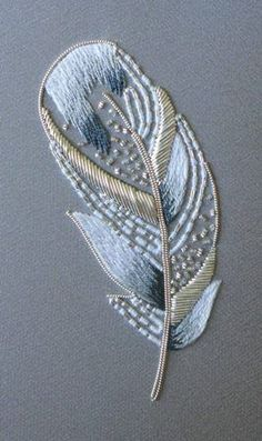 Silverwork Swan Feather ~ RSN goldwork embroidery class led by Helen Richman