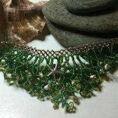 Hand beaded bib effect necklace. by SkybirdJewellery on Etsy, £18.00