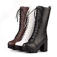 Women's Shoes Round Toe Chunky Heel Mid-Calf Boot... – USD $ 29.99