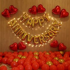 Happy Anniversary Lettering, Happy Anniversary Wedding, Wedding Day Wishes, Anniversary Letters, Birthday Decorations At Home, Anniversary Decorations, Simple Balloon Decoration, Balloon Decorations, Happy Birthday Wallpaper