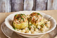 Karalábé főzelékkel! Baked Potato, Potato Salad, Paleo, Vegetarian, Meat, Ethnic Recipes, Kitchen, Food, Main Courses