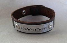 Brown Leather Personalized GPS Coordinates Bracelet Leather Bracelet Longitude Latitude Custom GPS