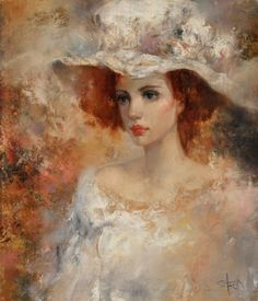 """Saatchi Art Artist: Stas Sugint; Oil 2015 Painting """"Lady in white hat """""""