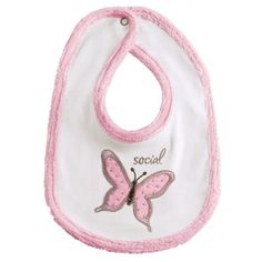 New Grasslands Road Pink White Social Butterfly Cotton Baby Girl Bib #GrasslandsRoad