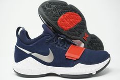 size 40 a8775 5f738 Nike PG 1 Paul George Basketball Shoes Blue Red USA Mens 878627-900 Size 9   Nike