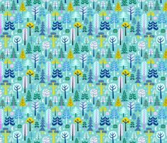 moonlight forest - turquoise fabric by mirabelleprint on Spoonflower - custom fabric