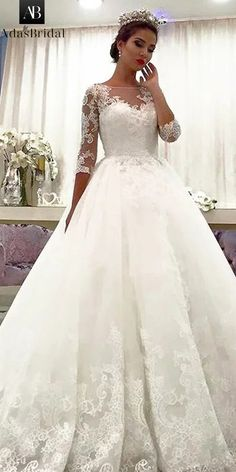 NEW! Attractive Tulle Bateau Neckline A-line Wedding Dress With Beadings & Lace Appliques