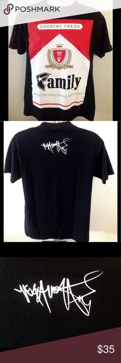 Famous x YelaWolf Country Fresh Tshirt Famous Stars and Straps in collaboration with YelaWolf has 'Country Fresh' Cig graphic on front. Back has YelaWolf Signature across back shoulders. Limited Edition Rare Hard To Find Tshirt. Excellent Condition Famous Stars & Straps Shirts Tees - Short Sleeve