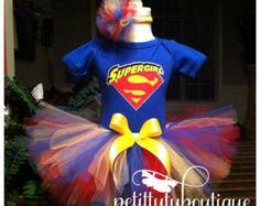 Super Girl Birthday Tutu set any size available 12m to 8y FREE Headband