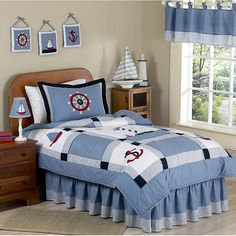Great nautical theme bedroom for a boy.