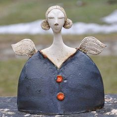 Raku Pottery, Slab Pottery, Ceramic Decor, Ceramic Clay, Pottery Angels, Paper Clay Art, Ceramic Angels, Sculpture, Polymer Clay Crafts