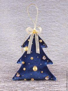Елочка новогодняя из бархата синяя - Новый Год,елочка,новогоднее украшение