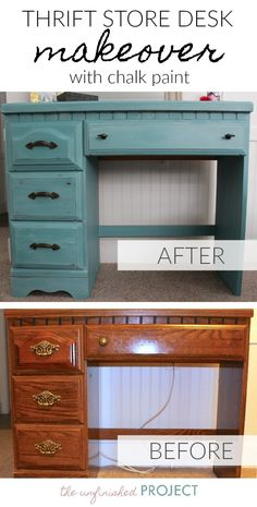 Thrift store desk makeover with chalk paint before and after store diy furniture desk makeover Desk Makeover, Diy Furniture, Painted Furniture, Home Furniture, Thrift Store Furniture, Bedroom Diy, Desk Furniture, Diy Furniture Bedroom, Repurposed Furniture