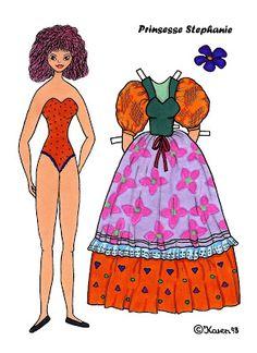 Karen`s Paper Dolls: Stephanie 1-4 Princess Paper Doll to Print in Colours. Stephanie 1-4 Prinsesse påklædningsdukke til at printe i farver.