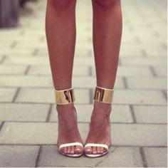 Gold & White Heels