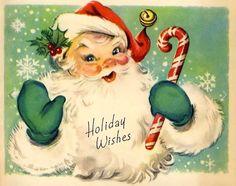 Retro Santa Gift Tags Merry Christmas Tags by Bluebirdlane Images Vintage, Vintage Christmas Images, Old Christmas, Old Fashioned Christmas, Vintage Holiday, Christmas Pictures, Retro Vintage, Vintage Style, Christmas Mantels