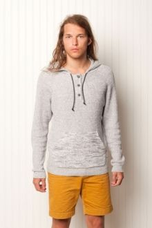 """Takanawa Sweater.   100% cotton. Hooded button-up henley. 7gg cotton sweater knit. """"Sunday morning's coming down?""""    $139.99"""