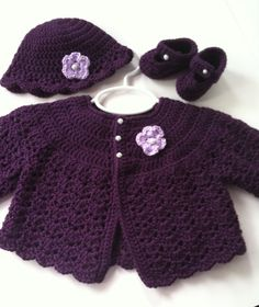 Crochet Baby Sweater Hat Booties Set Plum Newborn Made to Order. $38.00, via Etsy.