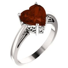 8x8mm Heart-Cut Garnet Ring in Sterling Silver ($199) ❤ liked on Polyvore featuring jewelry, rings, heart-shaped jewelry, garnet jewelry, white gold jewellery, garnet ring and garnet jewellery