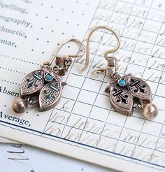 Victorian Rose Gold, Enamel and Turquoise Earrings, $550.