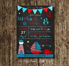 Nautical invitation - boy nautical invite - chalkboard nautical invitation - nautical baby shower - nautical birthday - boy nautical party