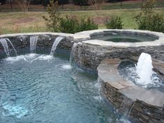 Concrete Pool Photos, Carolina pool pictures, raised spa, with sheer descents and bubblers