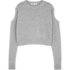 McQ Alexander McQueen Grey Cropped Wool Blend Jumper - Size L (£230) ❤ liked on Polyvore featuring tops, sweaters, cut out shoulder sweater, cropped sweaters, cold shoulder sweater, long sleeve jumper and gray crop top