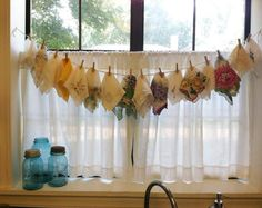 Vintage Handkerchiefs Displayed on a Clothesline