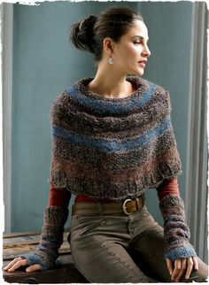 cozy capelet is knit of tweeded bouclé yarns in a gradation of moorland hues; alpaca (85%), pima (8%), wool (5%), silk (1%) and nylon (1%) #peruvianconnection