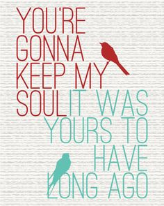 Keep My Soul - State Radio Lyrics Art Print (8x10) - FREE SHIPPING. $20.00, via Etsy.