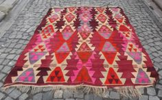 "Modern Bohemian Kilim Rug, Multicolor Red Blue n' Pink Kilim Rug, Decorative Handwoven Wool Kilim Rug 78 x 64.""  FREE SHIPPING"