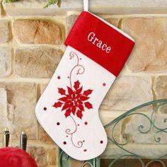 Red and White Poinsettia Christmas Stocking