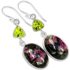 Russian Eudialyte & Peridot 925 Sterling Silver Earrings Jewelry 3952E - JJDesignerJewelry