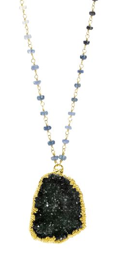 Blithe Black Druzy Gold Necklace